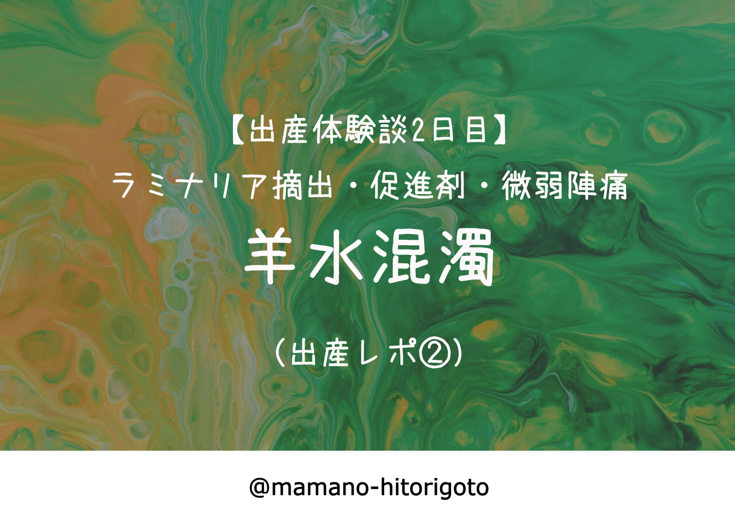 【出産体験談2日目】ラミナリア摘出・促進剤・微弱陣痛・羊水混濁